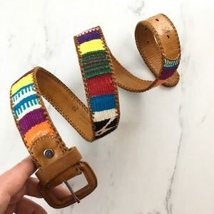 Vintage ethnic woven and genuine leather belt 30